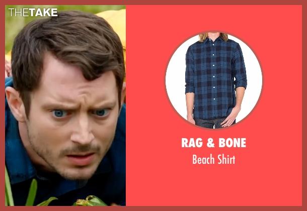 Rag & Bone blue shirt from Dirk Gently's Holistic Detective Agency seen with Todd Brotzman (Elijah Wood)