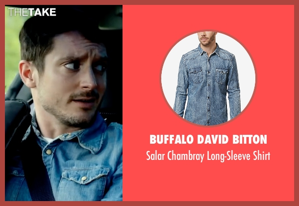 Buffalo David Bitton blue shirt from Dirk Gently's Holistic Detective Agency seen with Todd Brotzman (Elijah Wood)