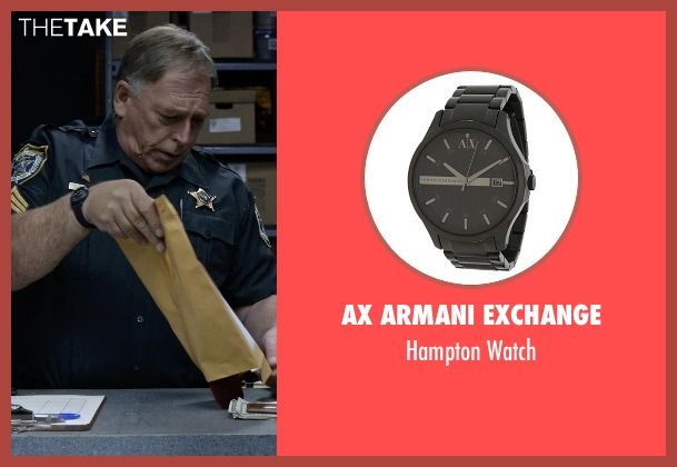 AX Armani Exchange black watch from Tomorrowland seen with Tom Butler (Sheriff)