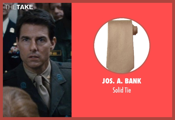 Jos. A. Bank brown tie from Edge of Tomorrow seen with Tom Cruise (Lt. Col. Bill Cage)
