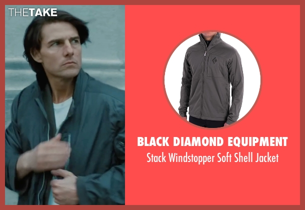 Black Diamond Equipment gray jacket from Mission: Impossible - Ghost Protocol seen with Tom Cruise (Ethan Hunt)