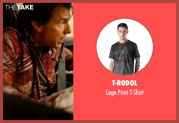 T-Rodol gray t-shirt from Mission: Impossible - Rogue Nation seen with Tom Cruise (Ethan Hunt)