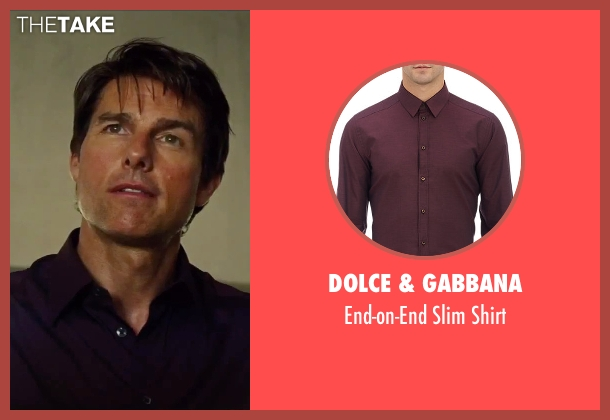 Dolce & Gabbana red shirt from Mission: Impossible - Rogue Nation seen with Tom Cruise (Ethan Hunt)