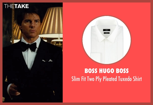 Boss Hugo Boss white shirt from Mission: Impossible - Rogue Nation seen with Tom Cruise (Ethan Hunt)