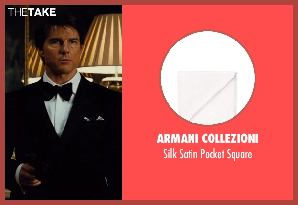 Armani Collezioni white square from Mission: Impossible - Rogue Nation seen with Tom Cruise (Ethan Hunt)