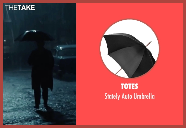 Totes black umbrella from Bridge of Spies seen with Tom Hanks (James Donovan)