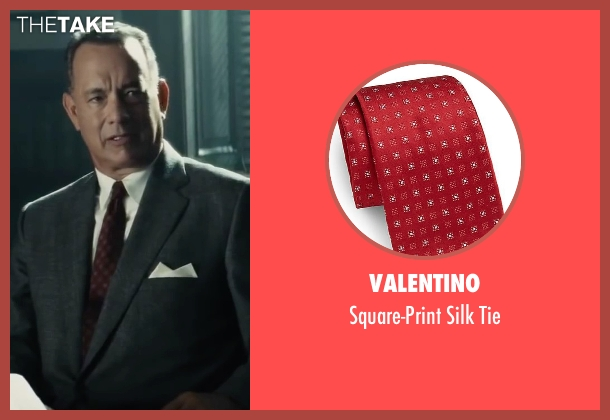 Valentino red tie from Bridge of Spies seen with Tom Hanks (James Donovan)