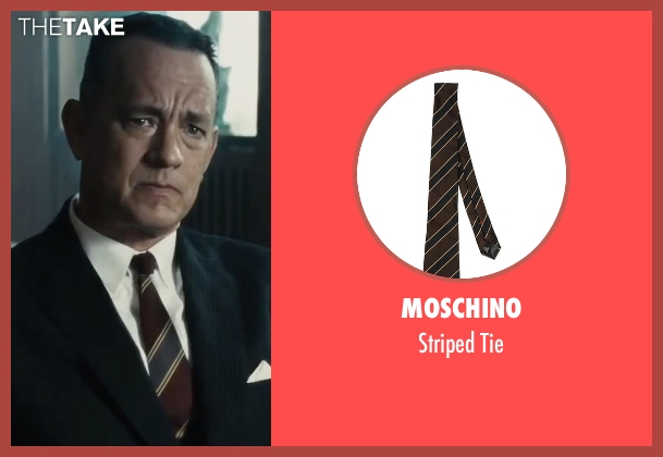 Moschino red tie from Bridge of Spies seen with Tom Hanks (James Donovan)