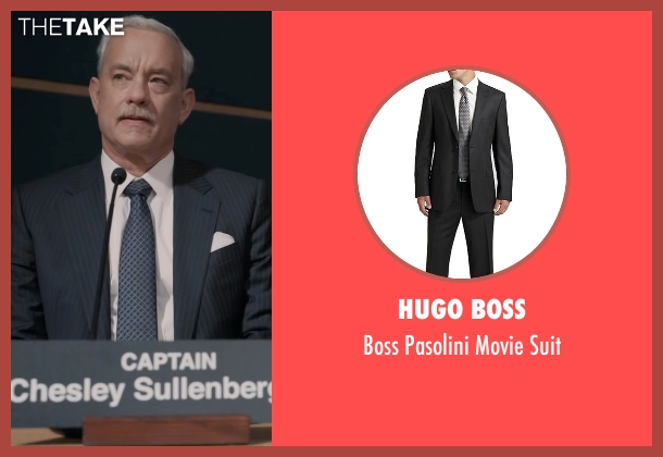 Hugo Boss black suit from Sully seen with Tom Hanks (Chesley 'Sully' Sullenberger)