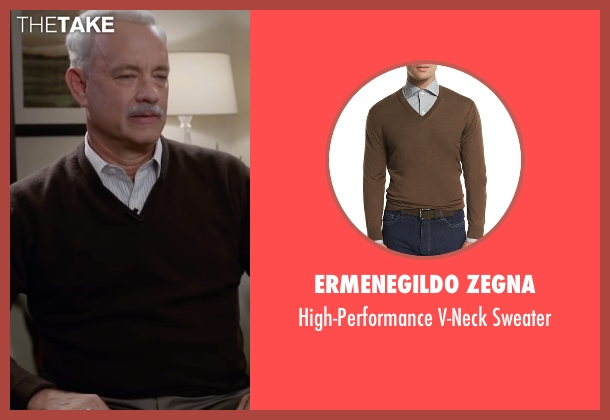 Ermenegildo Zegna  brown sweater from Sully seen with Tom Hanks (Chesley 'Sully' Sullenberger)