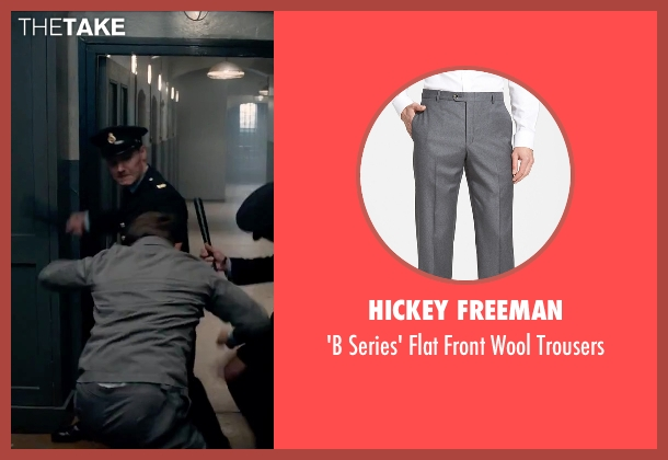 Hickey Freeman gray trousers from Legend seen with Tom Hardy (Ronald Kray)
