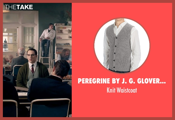 Peregrine By J. G. Glover Knit gray waistcoat from Legend seen with Tom Hardy (Ronald Kray)