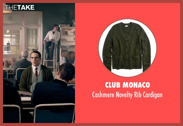 Club Monaco green cardigan from Legend seen with Tom Hardy (Ronald Kray)