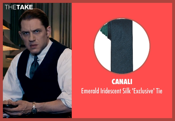 Canali green tie from Legend seen with Tom Hardy (Ronald Kray)