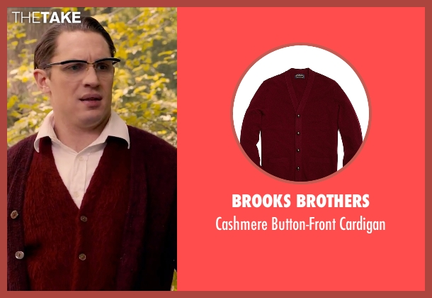 Brooks Brothers red cardigan from Legend seen with Tom Hardy (Ronald Kray)