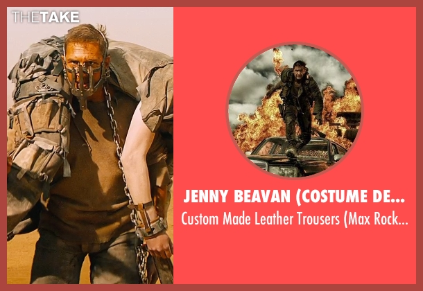 Jenny Beavan (Costume Designer) black trousers from Mad Max: Fury Road seen with Tom Hardy (Max Rockatansky)