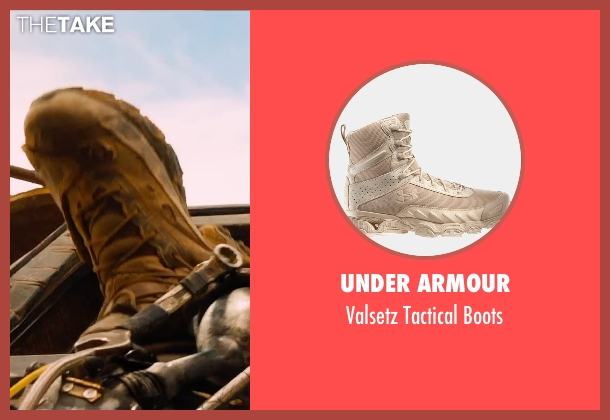 Under Armour brown boots from Mad Max: Fury Road seen with Tom Hardy (Max Rockatansky)