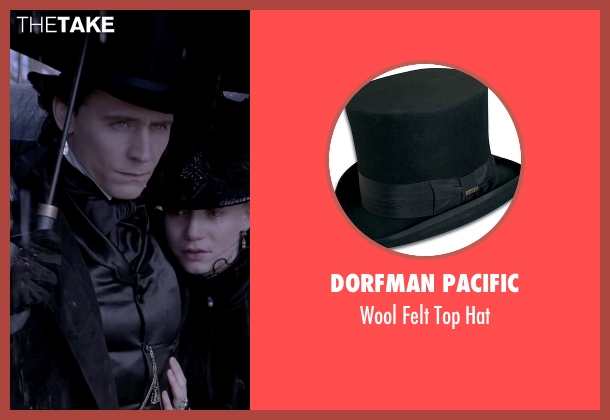 Dorfman Pacific black hat from Crimson Peak seen with Tom Hiddleston (Sir Thomas Sharpe)