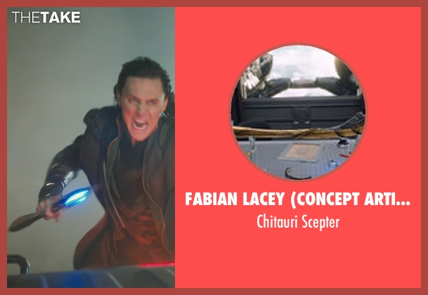Fabian Lacey (Concept Artist) scepter from Marvel's The Avengers seen with Tom Hiddleston (Loki)