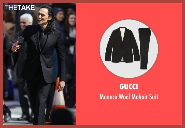 Gucci black suit from Thor: Ragnarok seen with Tom Hiddleston (Loki)