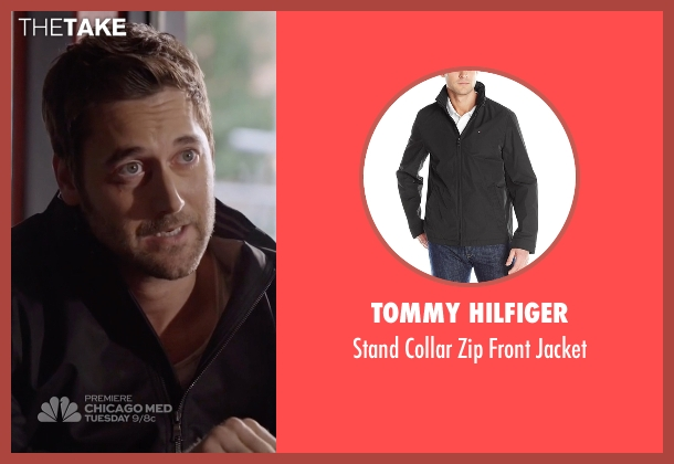 Tommy Hilfiger black jacket from The Blacklist seen with Tom Keen (Ryan Eggold)