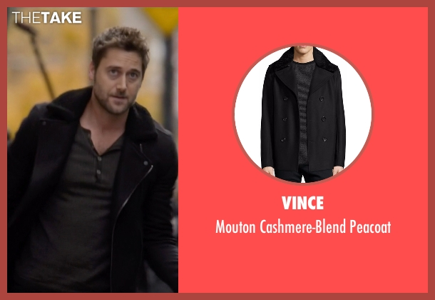 Vince black peacoat from The Blacklist seen with Tom Keen (Ryan Eggold)