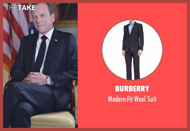 Burberry black suit from Designated Survivor seen with Tom Kirkman (Kiefer Sutherland)