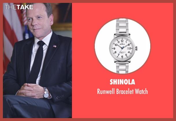 Shinola silver watch from Designated Survivor seen with Tom Kirkman (Kiefer Sutherland)