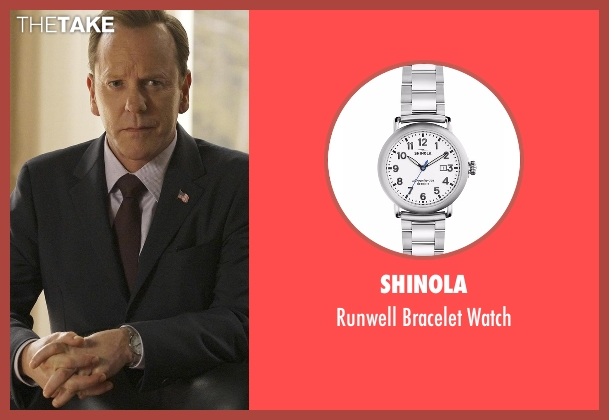 Shinola silver watch from Designated Survivor seen with Tom Kirkman (Kiefer Sutherland)