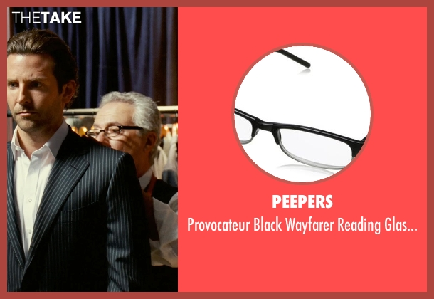 Peepers black glasses from Limitless seen with Tom Teti (Tailor)