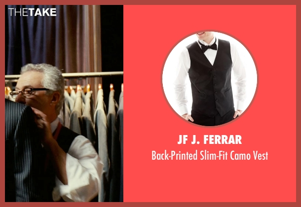 JF J. Ferrar black vest from Limitless seen with Tom Teti (Tailor)