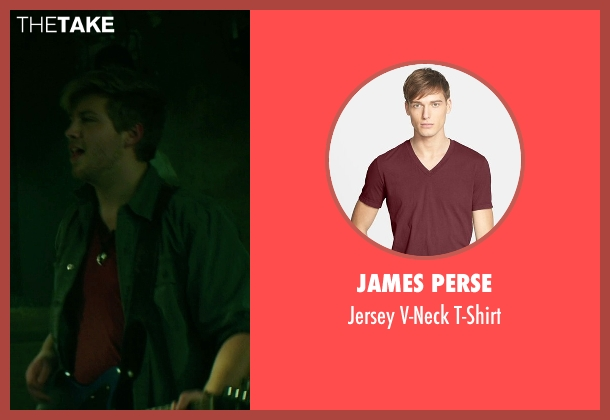 James Perse red t-shirt from If I Stay seen with Tom Vanderkam (Willamette Stone Band)
