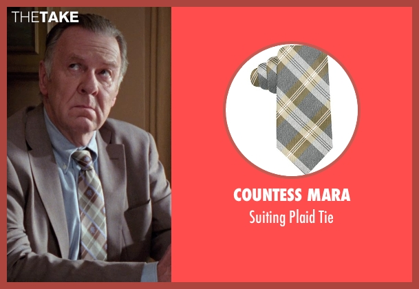 Countess Mara brown tie from Unfinished Business seen with Tom Wilkinson (Timothy McWinters)
