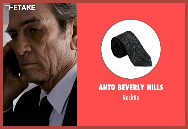 Anto Beverly Hills black necktie from Jason Bourne seen with Tommy Lee Jones (Robert Dewey)