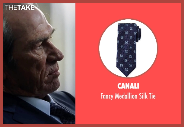 Saks Fifth Avenue Collection  blue tie from Jason Bourne seen with Tommy Lee Jones (Robert Dewey)