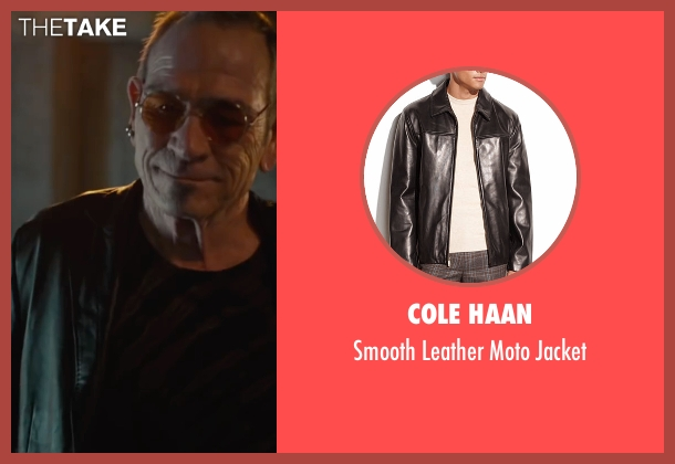 Cole Haan black jacket from Mechanic: Resurrection seen with Tommy Lee Jones (Max Adams)