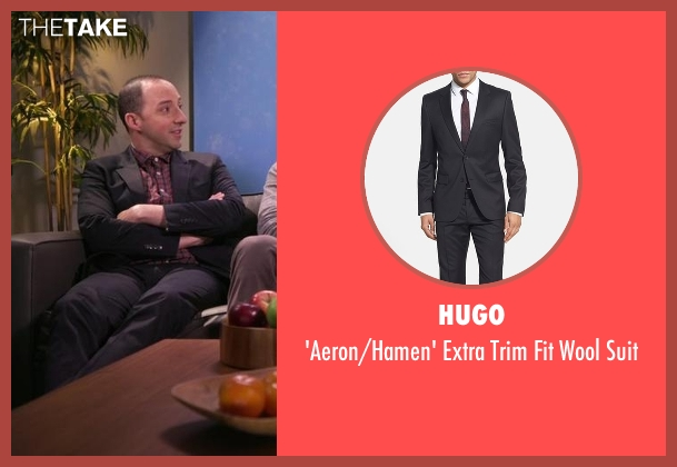 Hugo black suit from Chelsea seen with Tony Hale