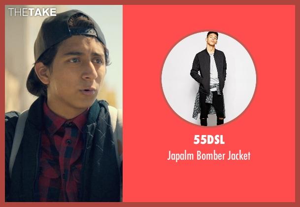 55DSL black jacket from Dope seen with Tony Revolori (Jib)
