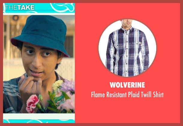 Wolverine blue shirt from Dope seen with Tony Revolori (Jib)
