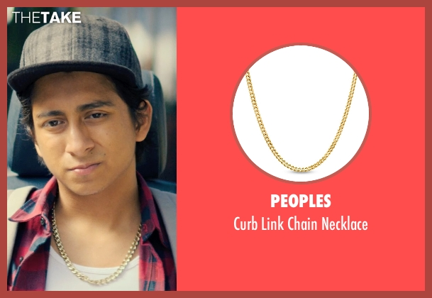 Peoples gold necklace from Dope seen with Tony Revolori (Jib)