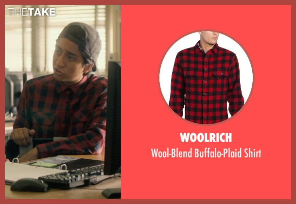 Woolrich red shirt from Dope seen with Tony Revolori (Jib)