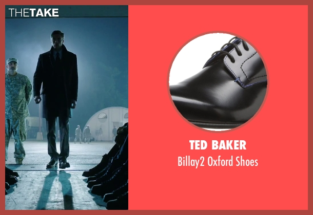 Ted Baker black shoes from American Ultra seen with Topher Grace (Adrian Yates)