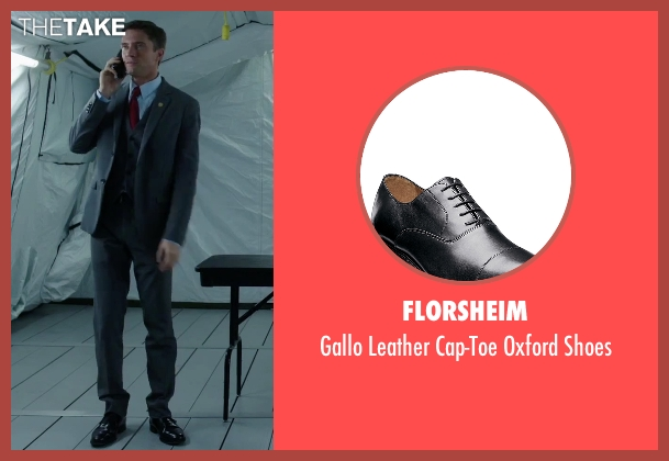 Florsheim black shoes from American Ultra seen with Topher Grace (Adrian Yates)