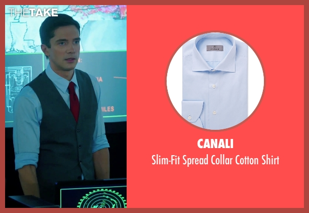 Canali blue shirt from American Ultra seen with Topher Grace (Adrian Yates)