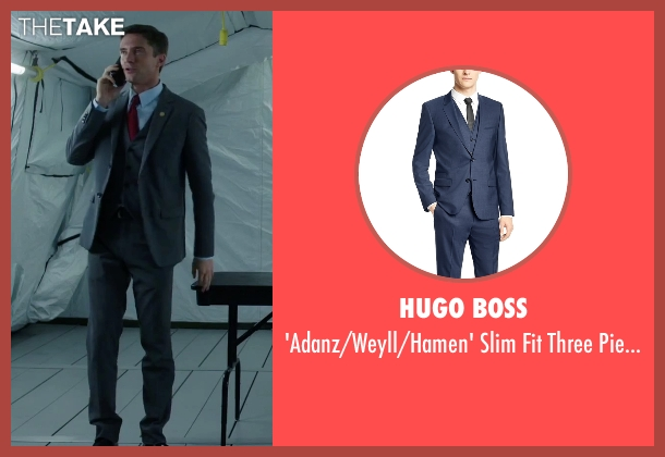 Hugo Boss blue suit from American Ultra seen with Topher Grace (Adrian Yates)