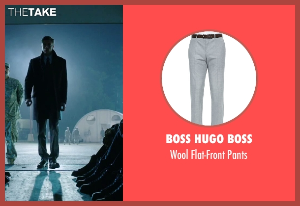 Boss Hugo Boss gray pants from American Ultra seen with Topher Grace (Adrian Yates)