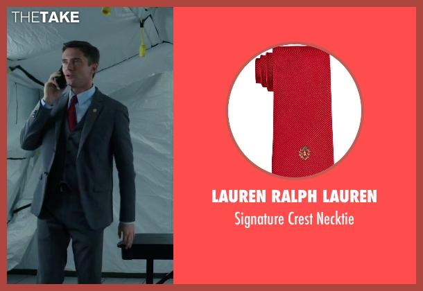 Lauren Ralph Lauren red necktie from American Ultra seen with Topher Grace (Adrian Yates)