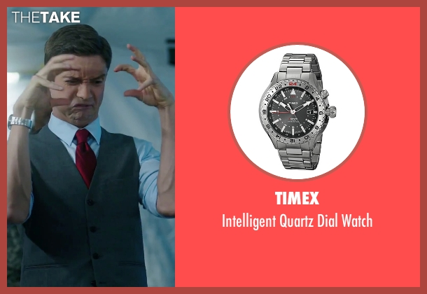 Timex silver watch from American Ultra seen with Topher Grace (Adrian Yates)