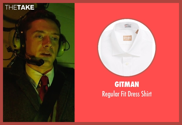 Gitman white shirt from American Ultra seen with Topher Grace (Adrian Yates)
