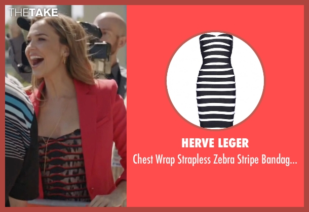 Herve Leger black dress from Ballers seen with Tracy Legette (Arielle Kebbel)